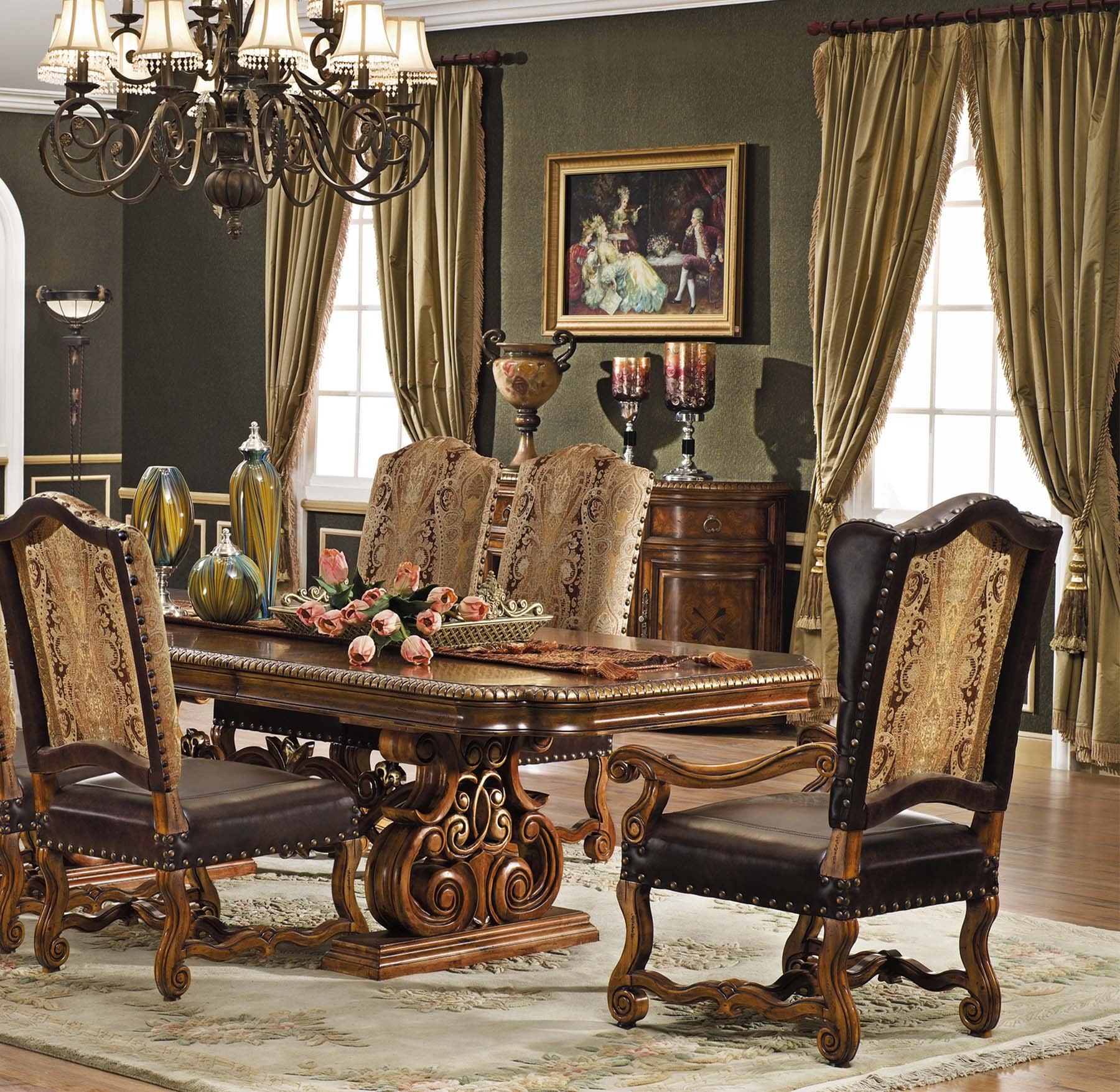marlborough dining set table gold accent pcs shown antique walnut finish metal top coffee large garden umbrellas round hammered inch square tablecloth globe lighting portland tile