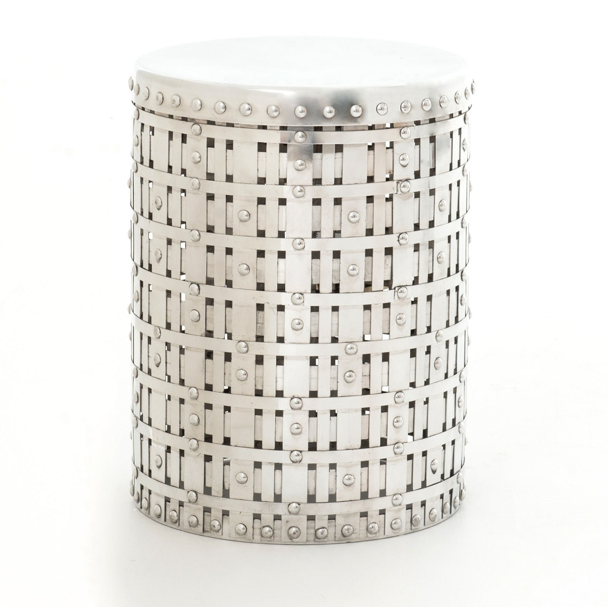marlow woven round aluminum accent table zin home metal imar living room chest antique square wood floor trim tall coffee diy patio cooler pipe low corner small lucite side farm