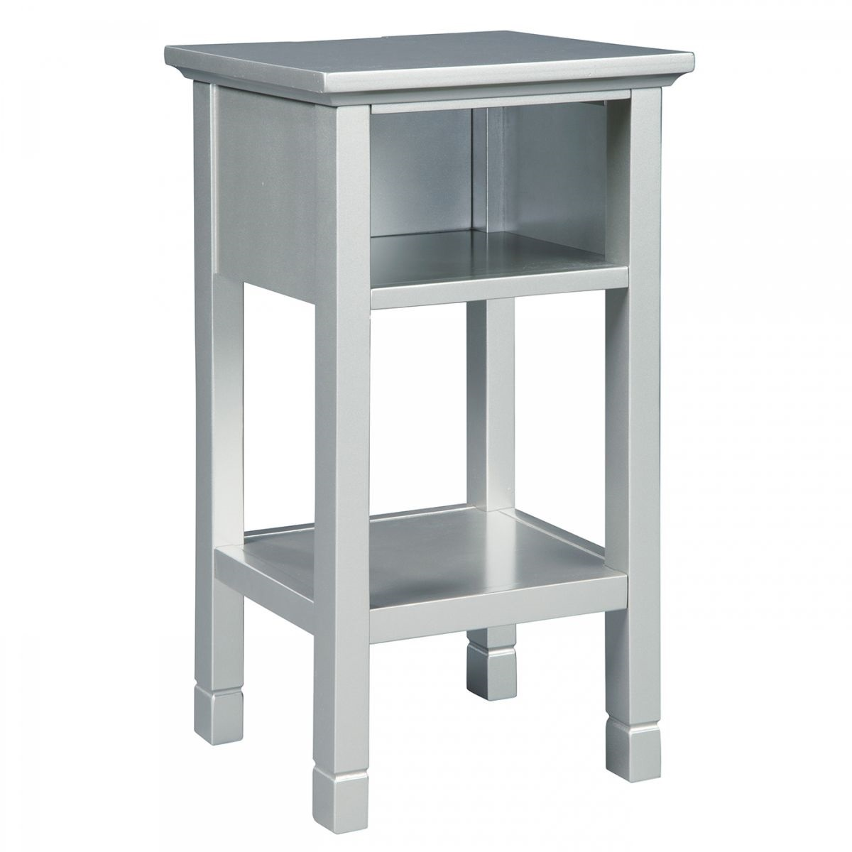 marnville silver accent table with usb port badcock more ture pottery barn style tables grey recliner round outdoor chair teak side commercial office furniture rustic nightstands