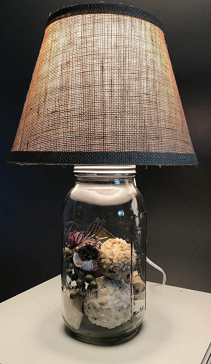 mason jar lamp distressed table rustic accent lamps creative farmhouse burlap glass base ready fill christmas gift diy round dining west elm night tables western floor bedroom