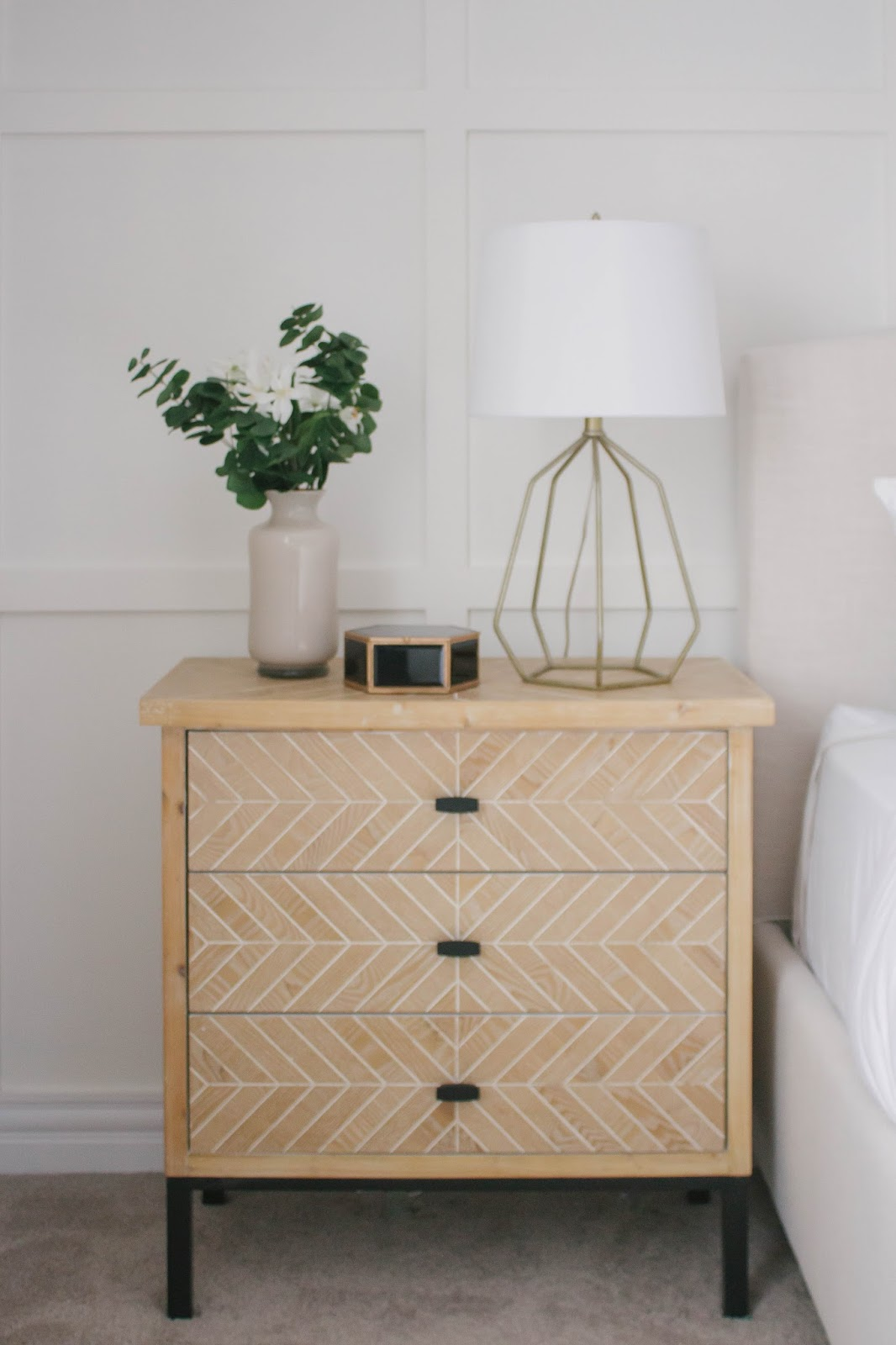 master bedroom refresh with homesense house hire how style nightstand metal base spotted these two wooden nightstands black and this beautiful white carving detail throughout not