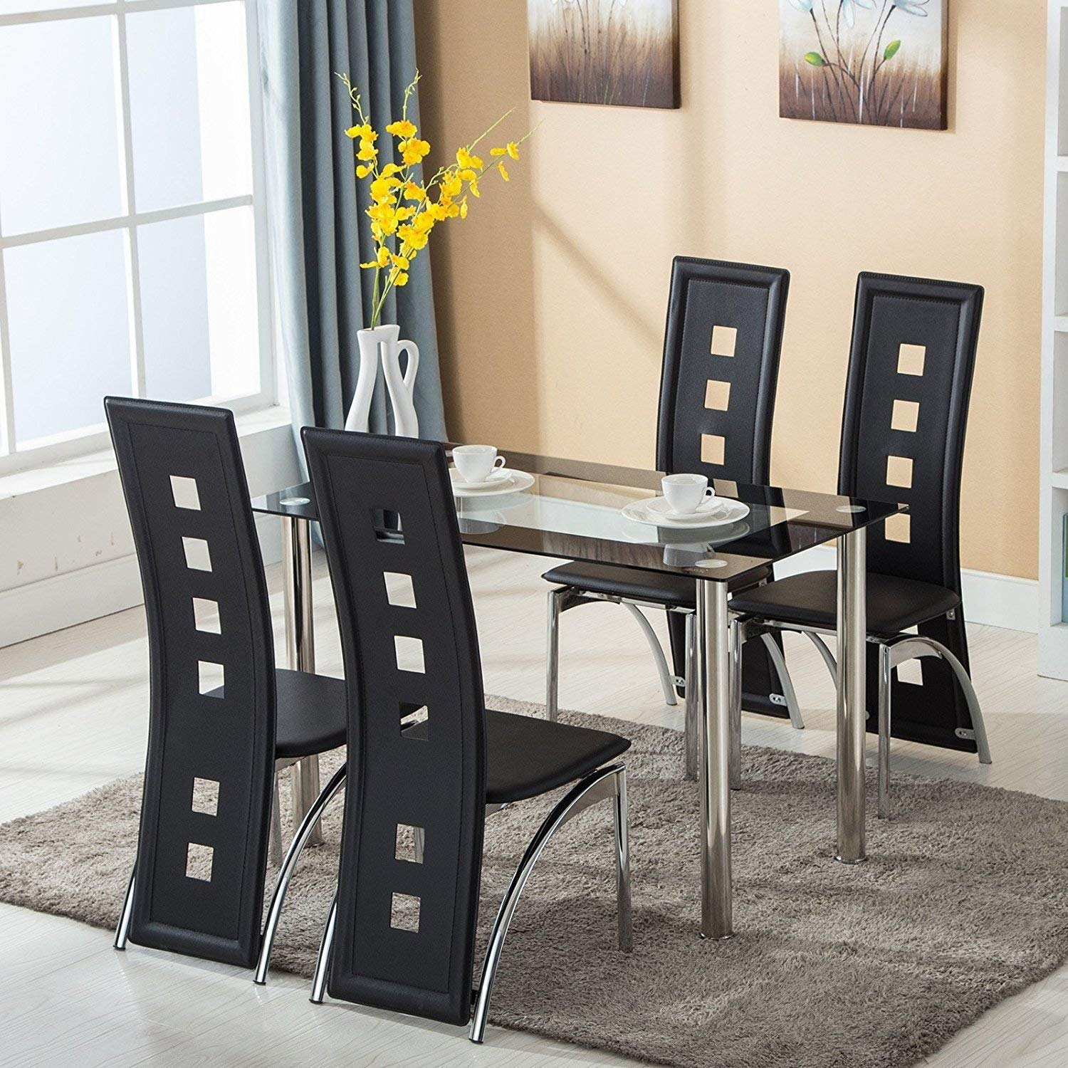 mecor dining room table set piece glass kitchen accent chair and leather chairs furniture black sets small outdoor cover couch target dressers red side green end tables with