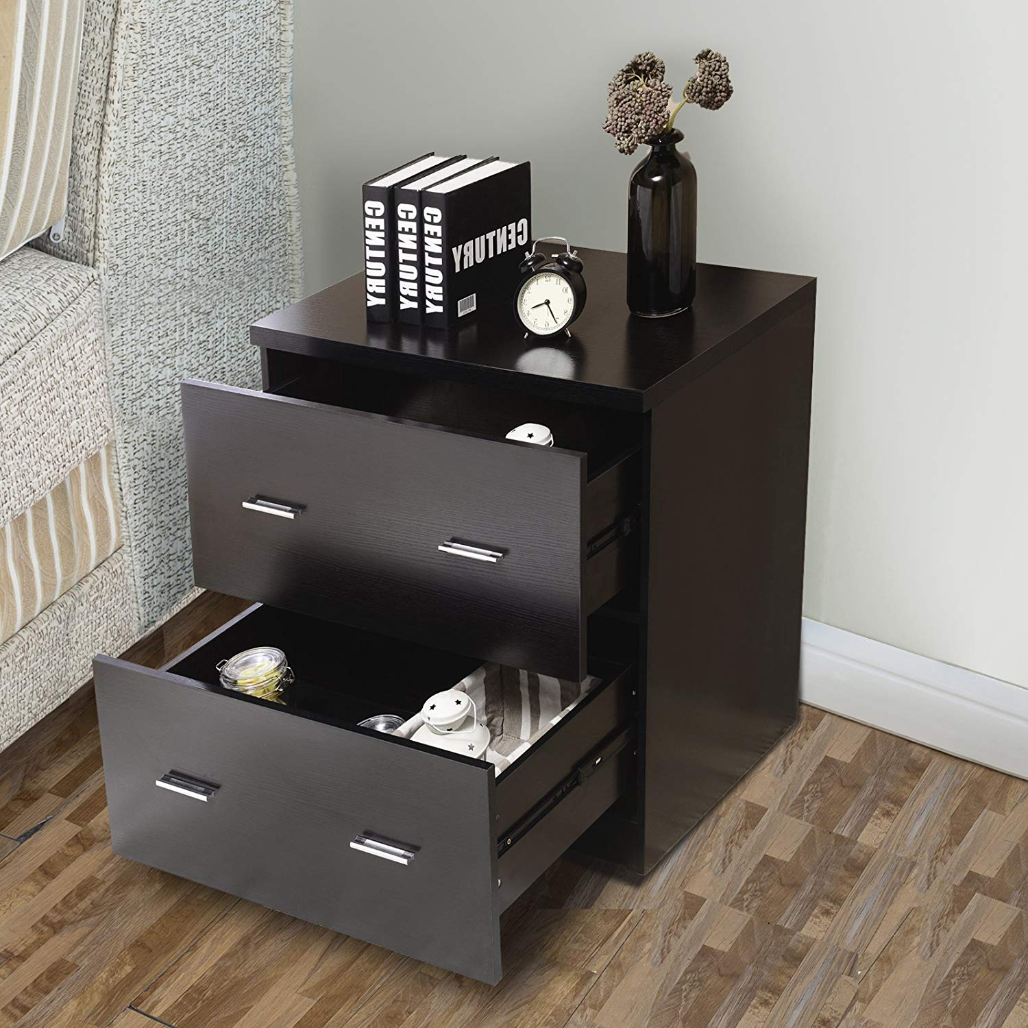 mecor drawers nightstands end table with mdf square winsome ava accent drawer black finish bedroom furniture kitchen dining acrylic coffee ikea patio feet replacement narrow