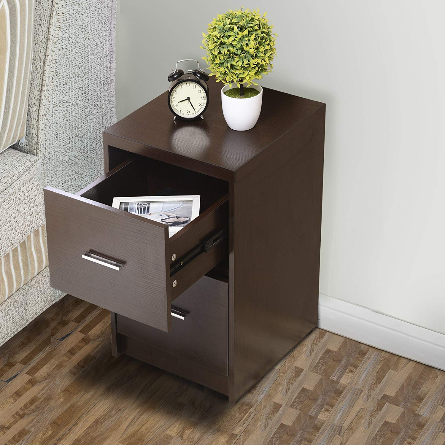 mecor nightstands end table with drawers mdf square winsome ava accent drawer black finish bedroom furniture espresso set kitchen dining cool bedside tables ikea garden shelf