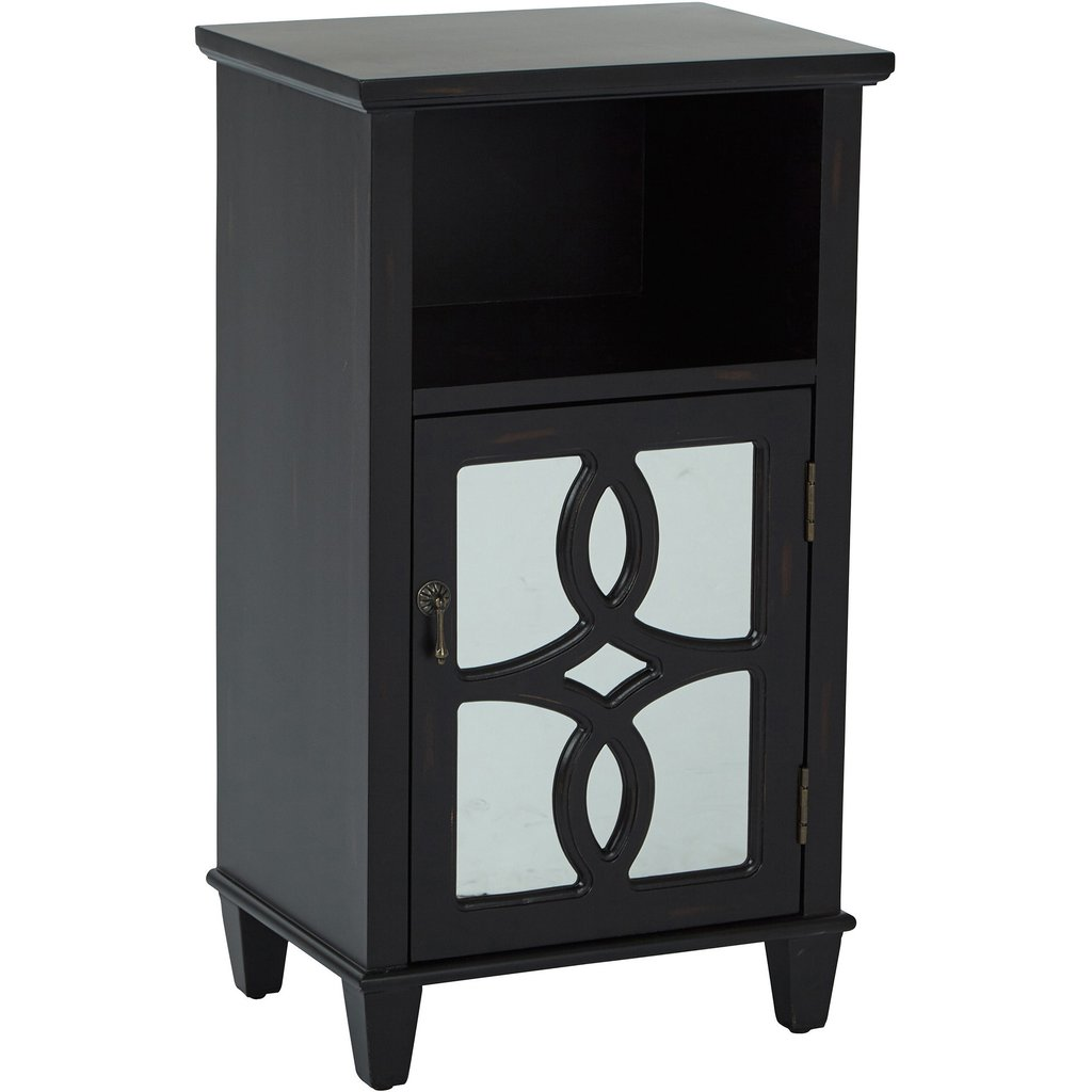 medina storage accent table with mirror accents antique black osp mirrored finish west elm urban sofa silver drum side small drawer parasol stand inexpensive end tables pottery