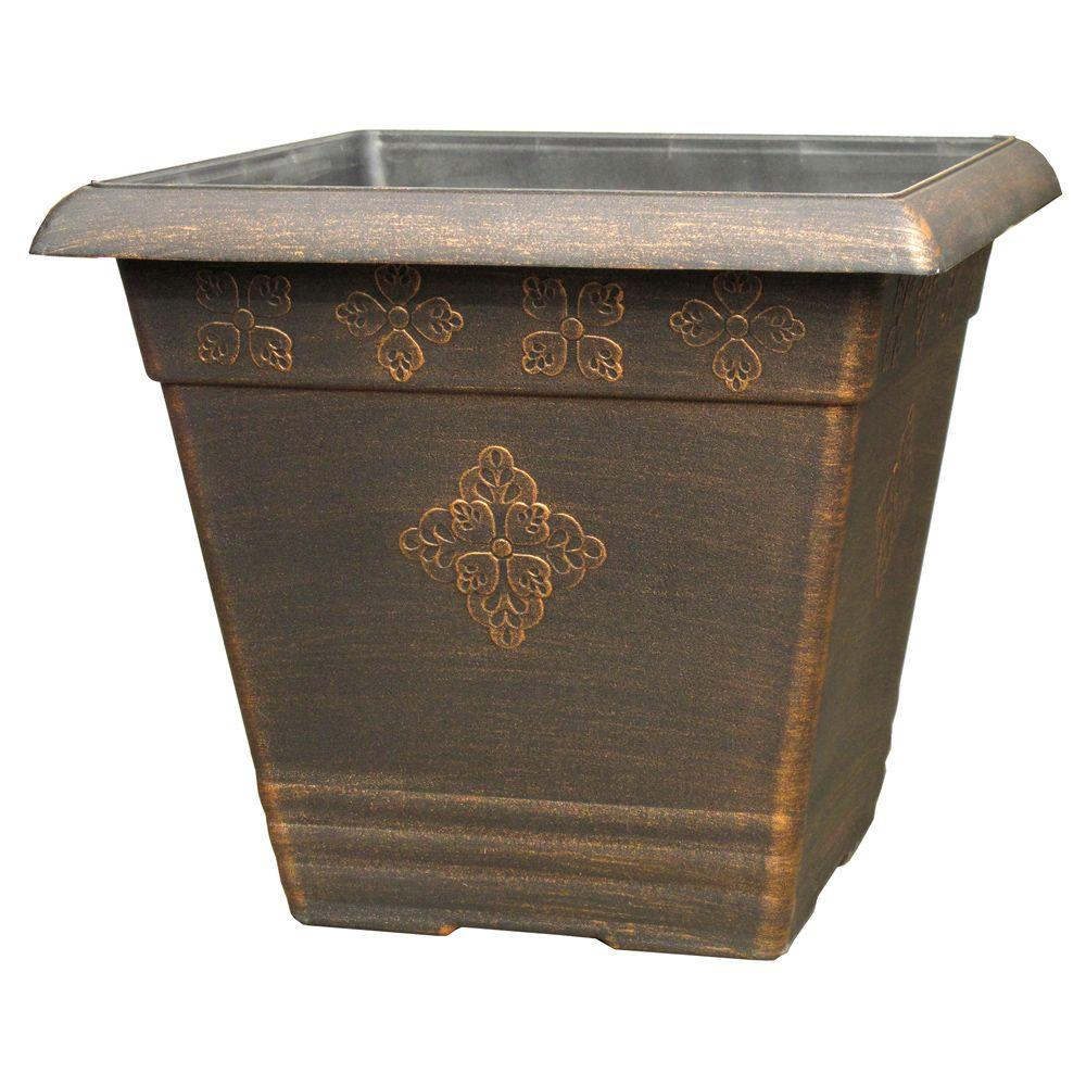 medley square copper plastic planter the finish plant pots wood cube accent table silver mirrored bedside tables uttermost company white marble round side floating console piece