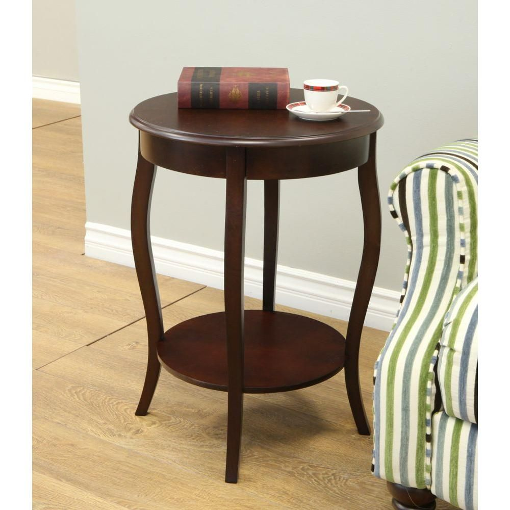 megahome espresso end table products round accent walnut expresso pedestal bedside small outdoor wicker black console butler specialty company knobs and handles stackable side