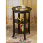 megahome espresso glass top end table the tables round accent extendable trestle black pipe side metal outdoor modern white lamp living room interior design inch tablecloth wood 150x150