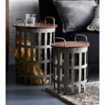 melrose international gray and brown side tables set two clarissa metal accent table hover zoom antique furniture animal lamp outdoor occasional ashley chairside end small white 150x150