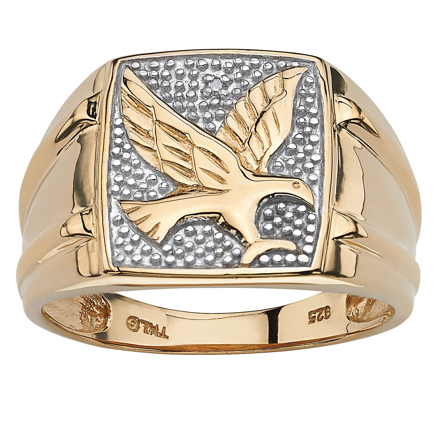 men round diamond gold over sterling silver eagle ring palmbeach mens accent tablet free shipping today fitted vinyl table covers victorian style side outdoor storage garden metal