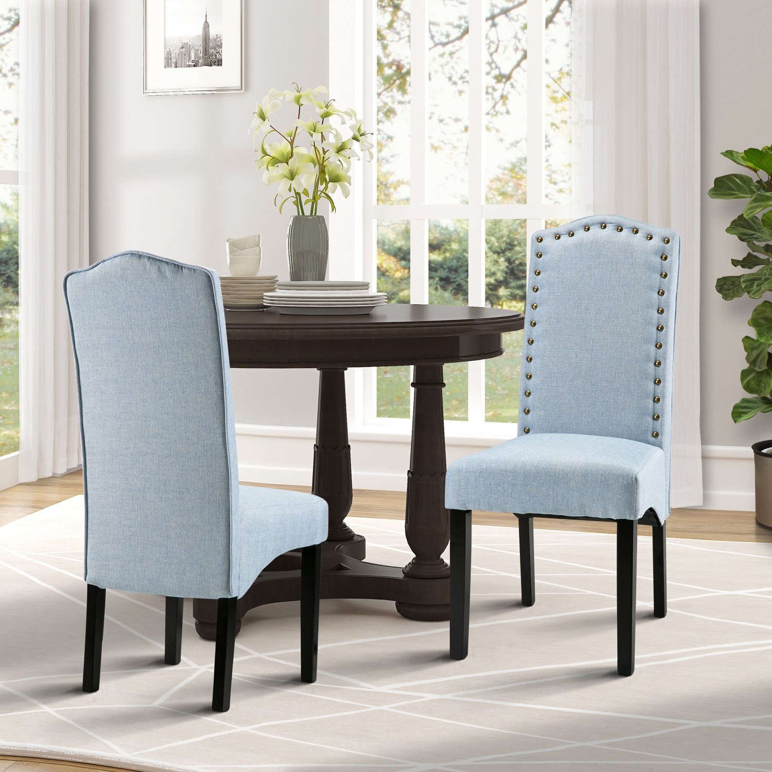 merax fabric accent chair dining room with solid wood legs set light blue furniture chairs tall patio table push back recliner antique black side nightstand bedside white chest