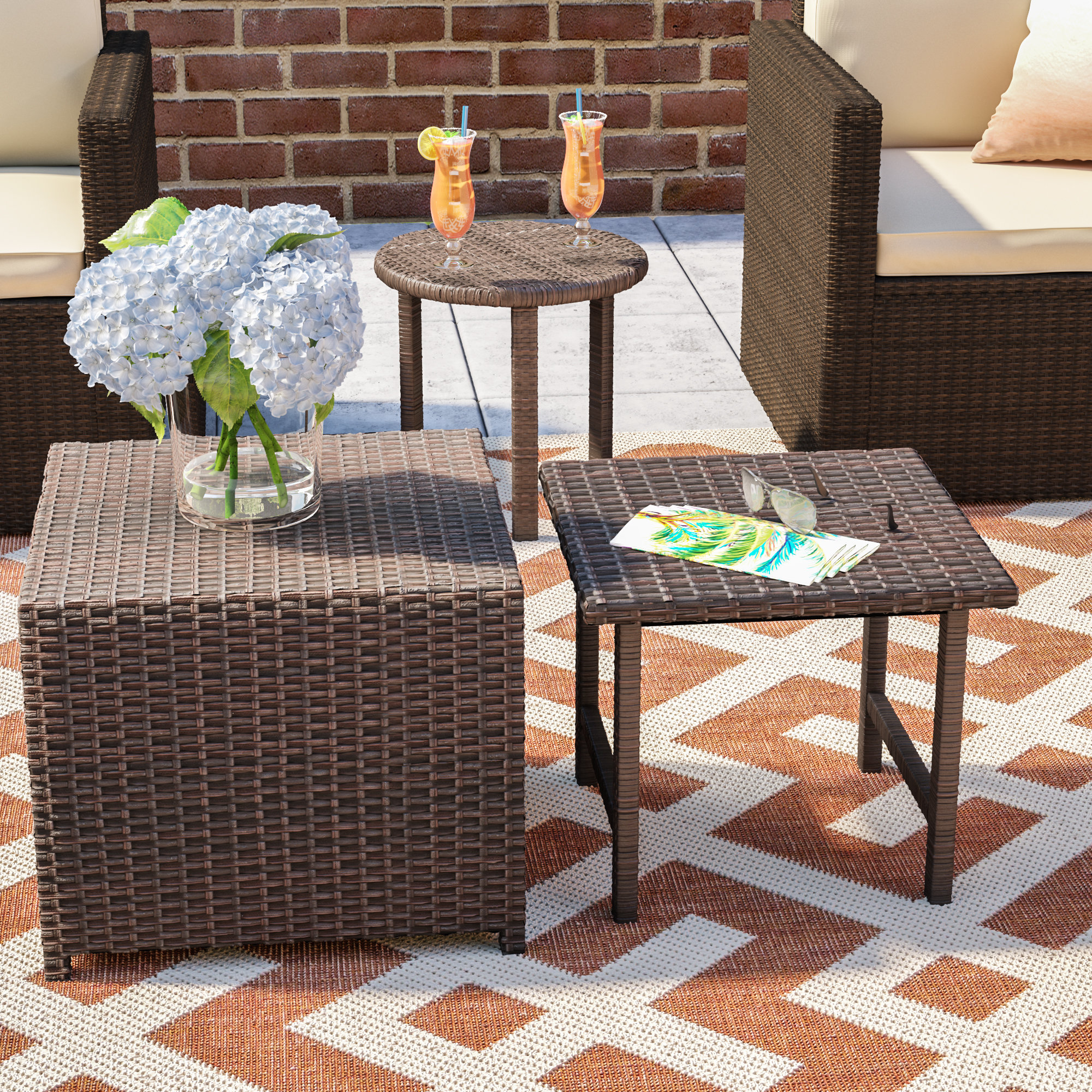 mercury row agamemnon piece wicker side table set reviews outdoor and chairs cart cherry wood dining room furniture sets metal glass end mirrored chest pier one wall art battery