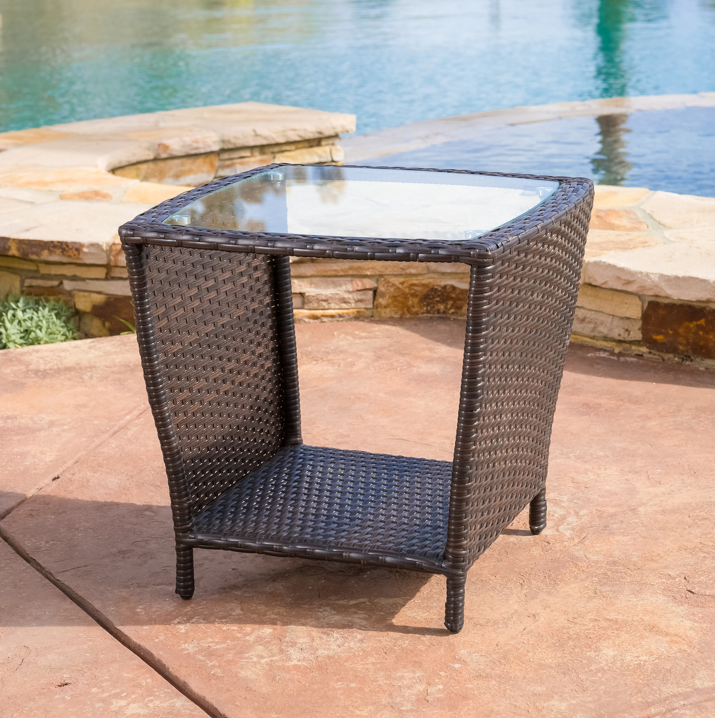 mercury row caro outdoor wicker side table with glass top reviews patio set flip kohls dishes sofa colorful coffee tables small wood nightstand grey console rustic sliding door