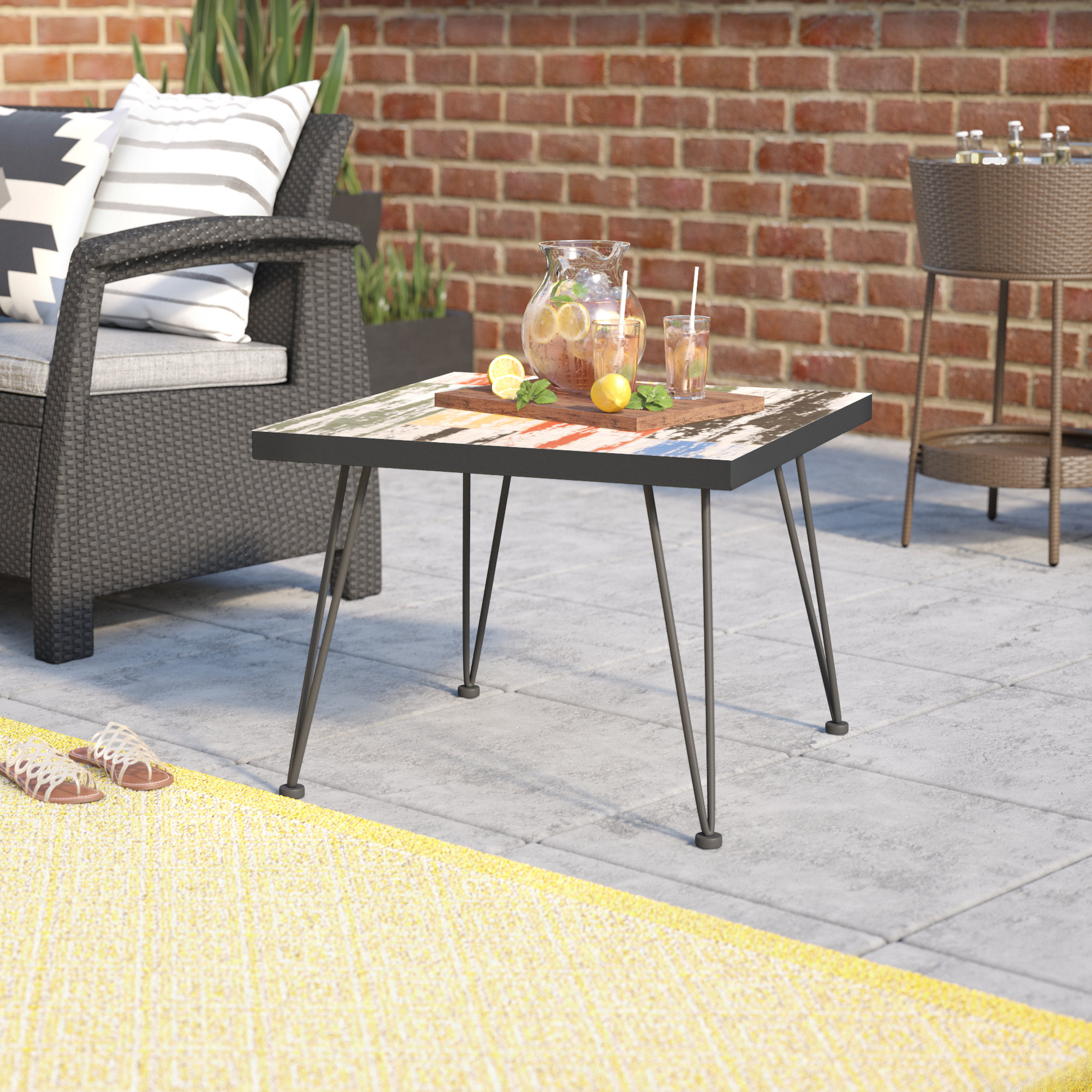mercury row mcsweeney outdoor side table reviews gray large pub hampton bay wicker furniture maple dining room black and white modern coffee shelby accent chest semi circle hall