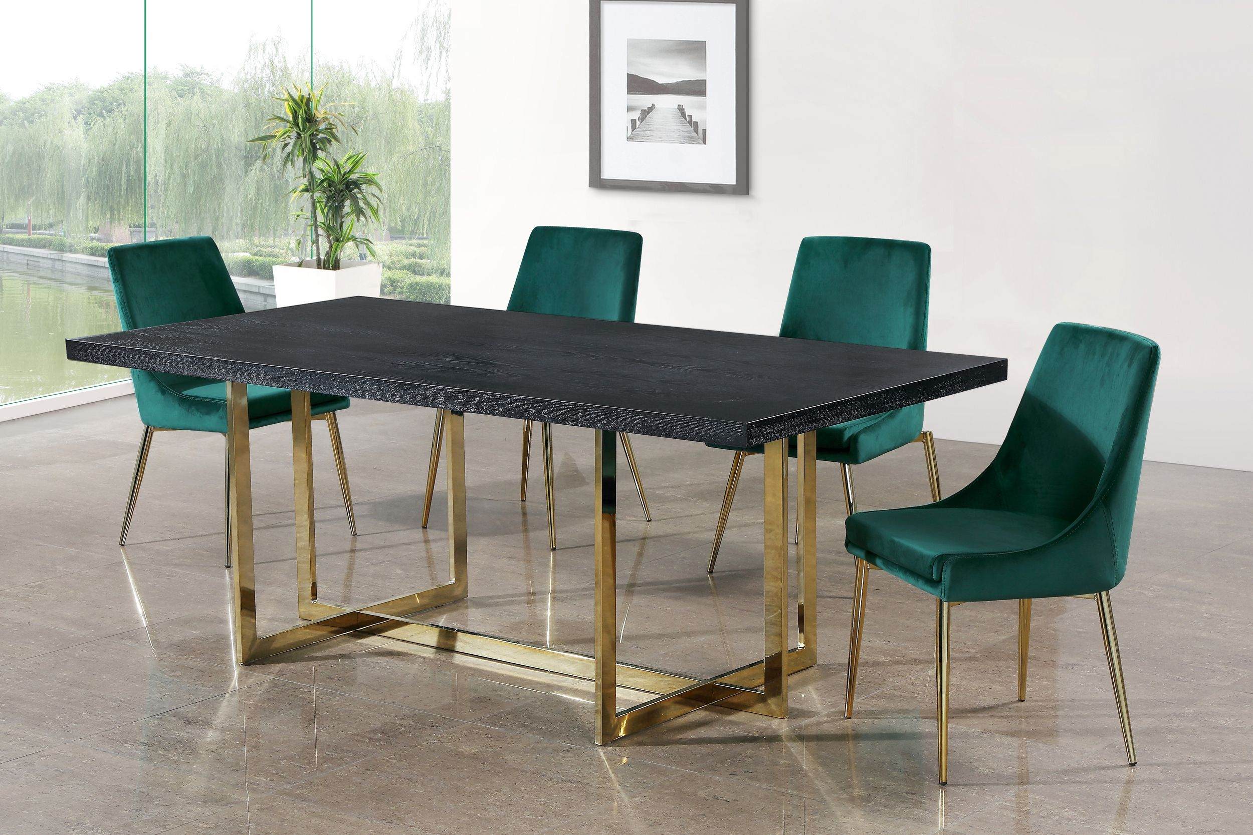 meridian furniture accent pieces for dining room table elle karina green gold piece set today studded chairs grey retro legs small fold coffee yellow dark cherry wood thin cabinet