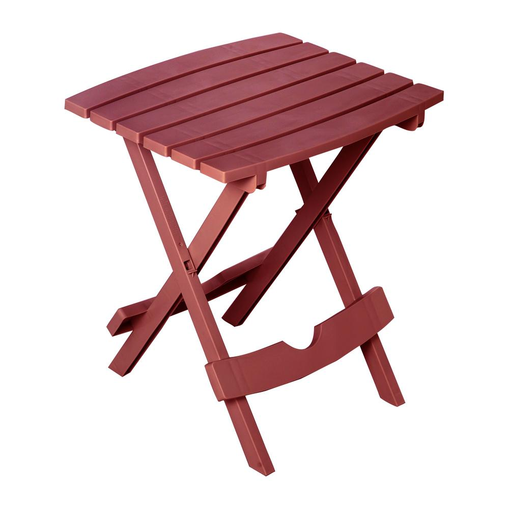 merlot red folding outdoor accent side table pool patio porch deck adams manufacturing tables small resin green marble top coffee metal with umbrella hole off white bedside dark