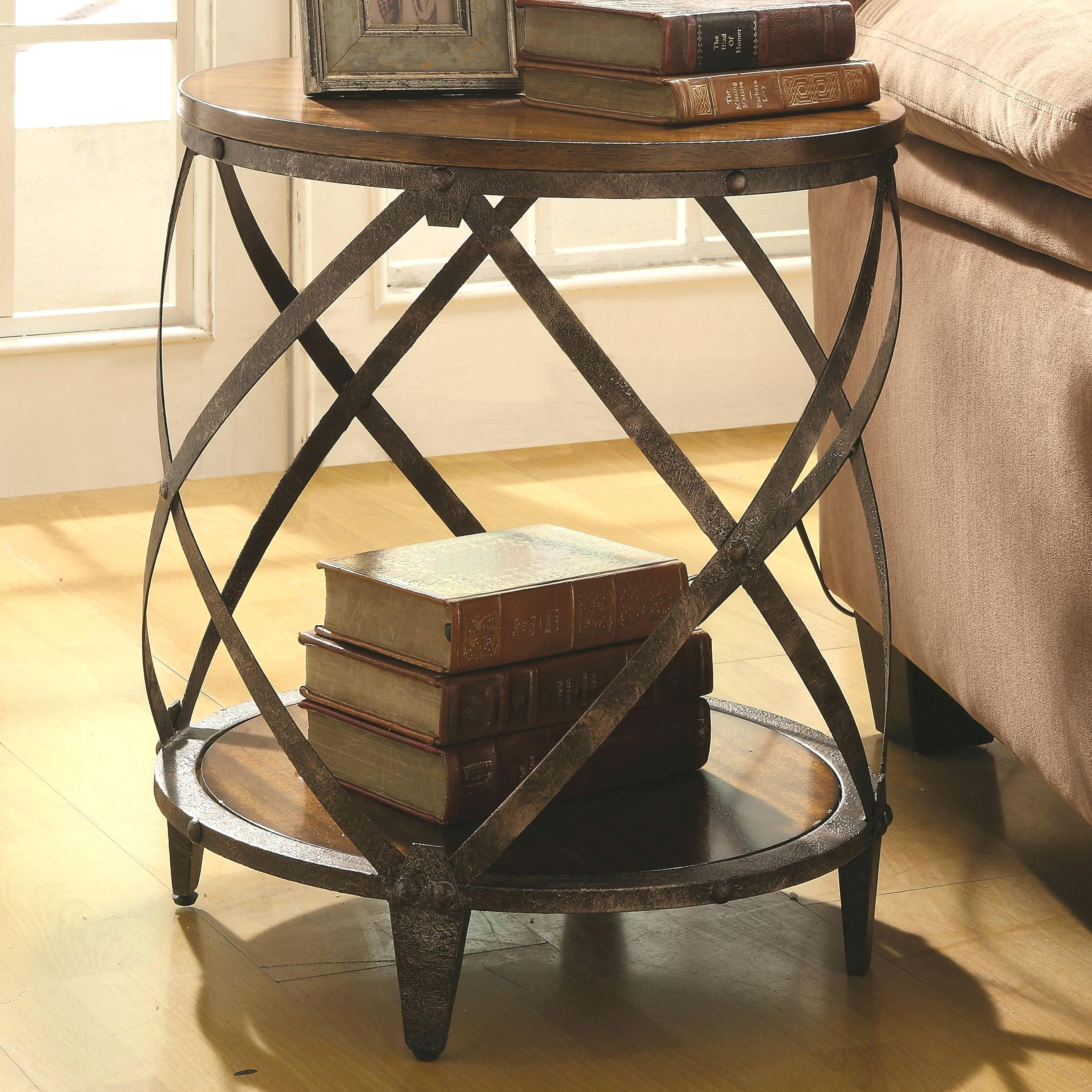 metal accent table hepsy coaster cabinets contemporary with drum shape fine furniture target threshold brown circle coffee side tables for small spaces tall dining room sets