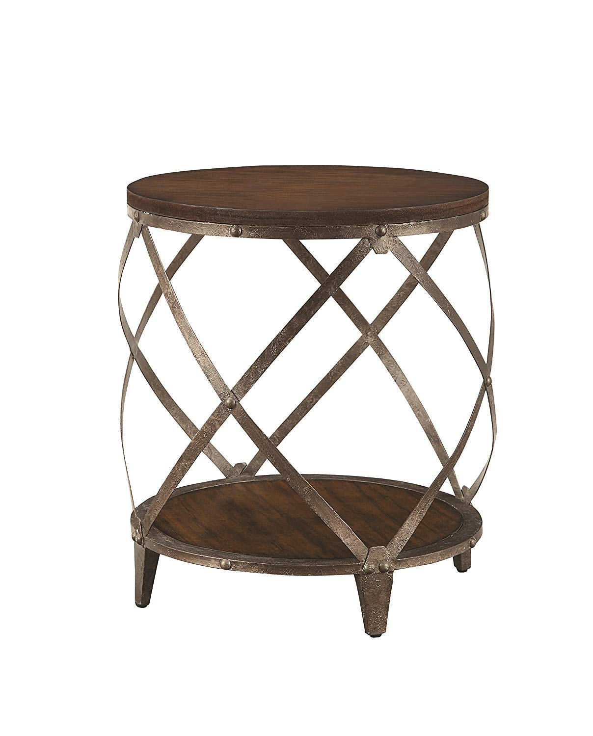 metal accent table with drum shape brown kitchen dining outdoor furniture seat covers industrial bedside faux marble modern lamps for living room battery powered light white round