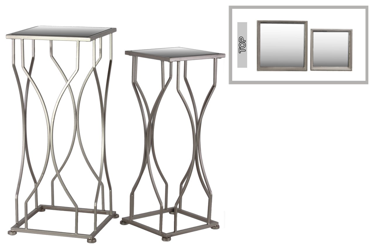 metal accent table with mirror top and square base set two coated silver finish vintage brass glass coffee round tablecloth rustic wheels resin furniture end tables livingroom