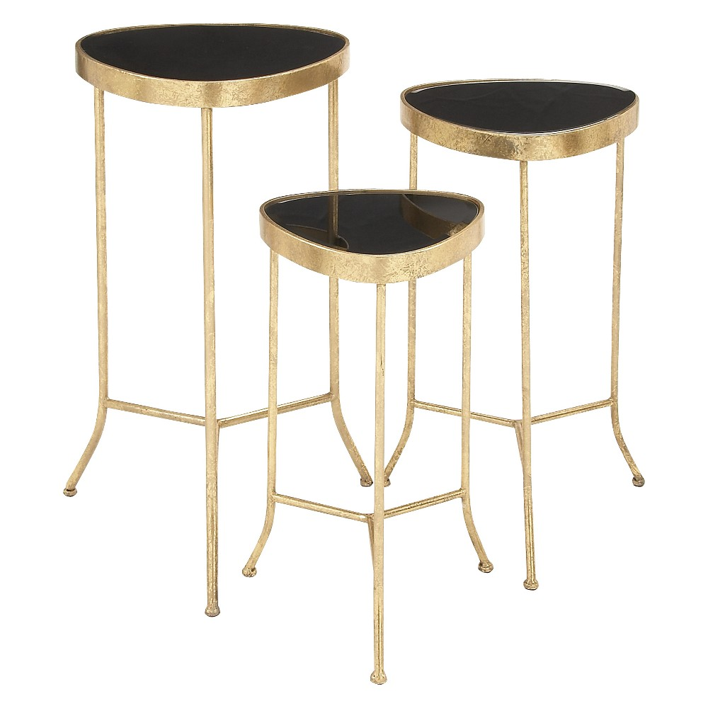 metal and glass set modern accent tables olivia multi colored colorful brushed gold side table stein world shelby chest vintage couch styles kids outdoor bar height hardwood