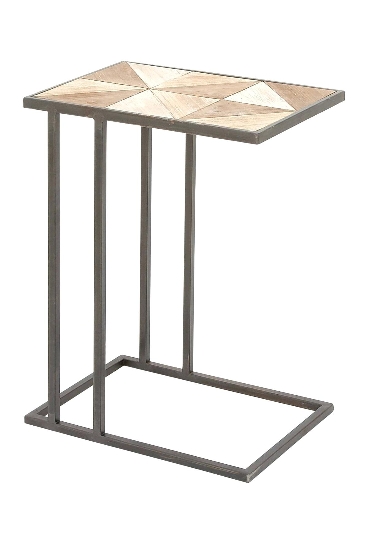 metal and wood accent table brown uma qthai top trestle legs round entry contemporary coffee tables toronto dark farmhouse tiffany lily lamp unique end inch tablecloth modern sofa