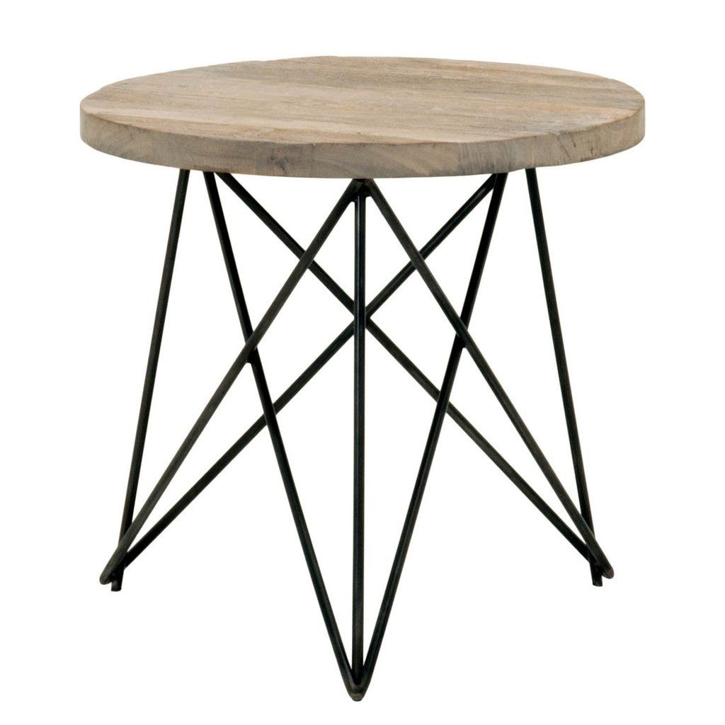 metal base accent table with round wooden top brown from sif rwst sgry elm wood nate berkus bedding ethan allen leather furniture antique oak small rattan side parasol stand