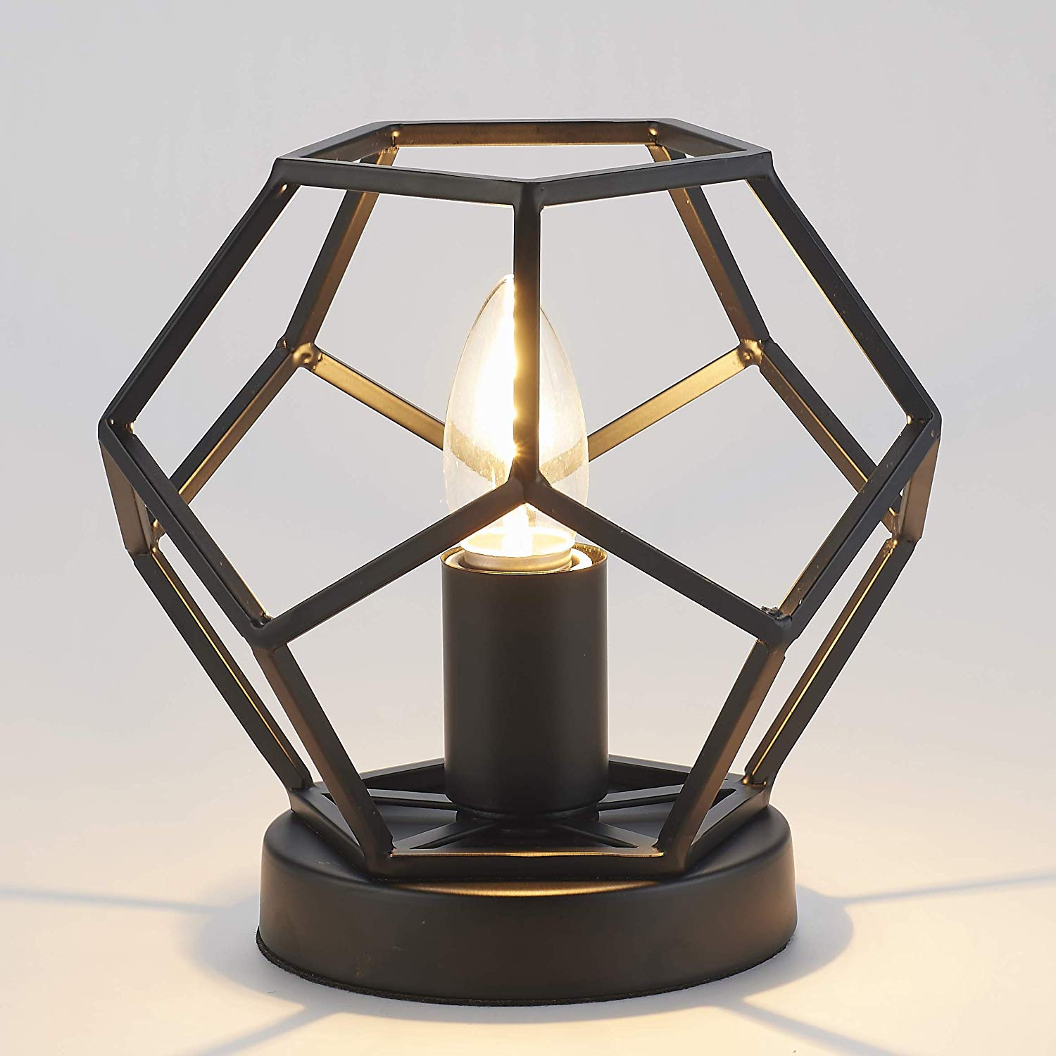 metal basket base table lamp black football shape accent lighting tall round led lights for home granite top end tables corner dining set teal decor living room furniture small