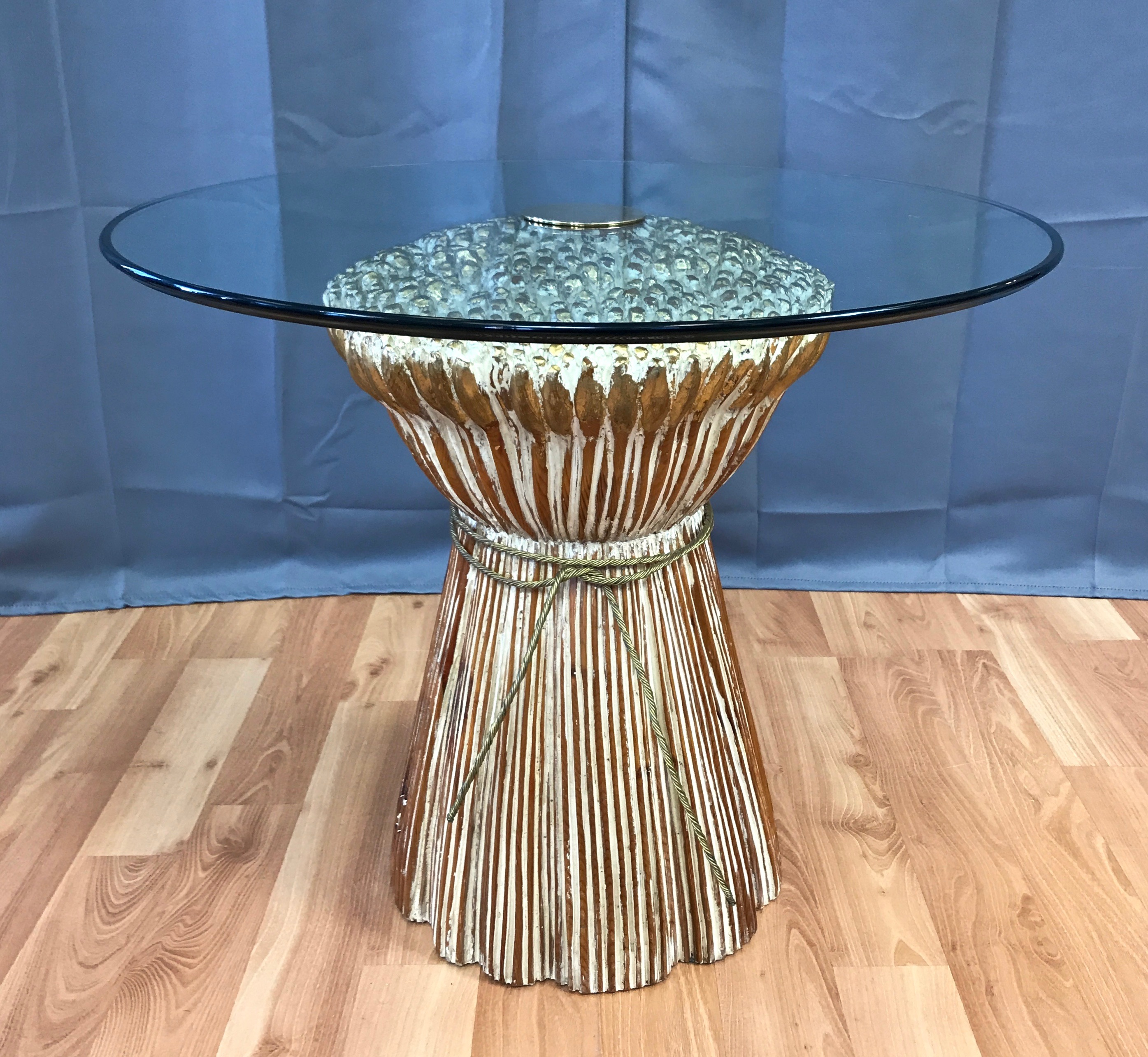 metal desk legs probably super carved wood end table idea sculptural wheat sheaf with glass top past perfect tables toronto diy rustic round easter tablecloth iron bench pottery