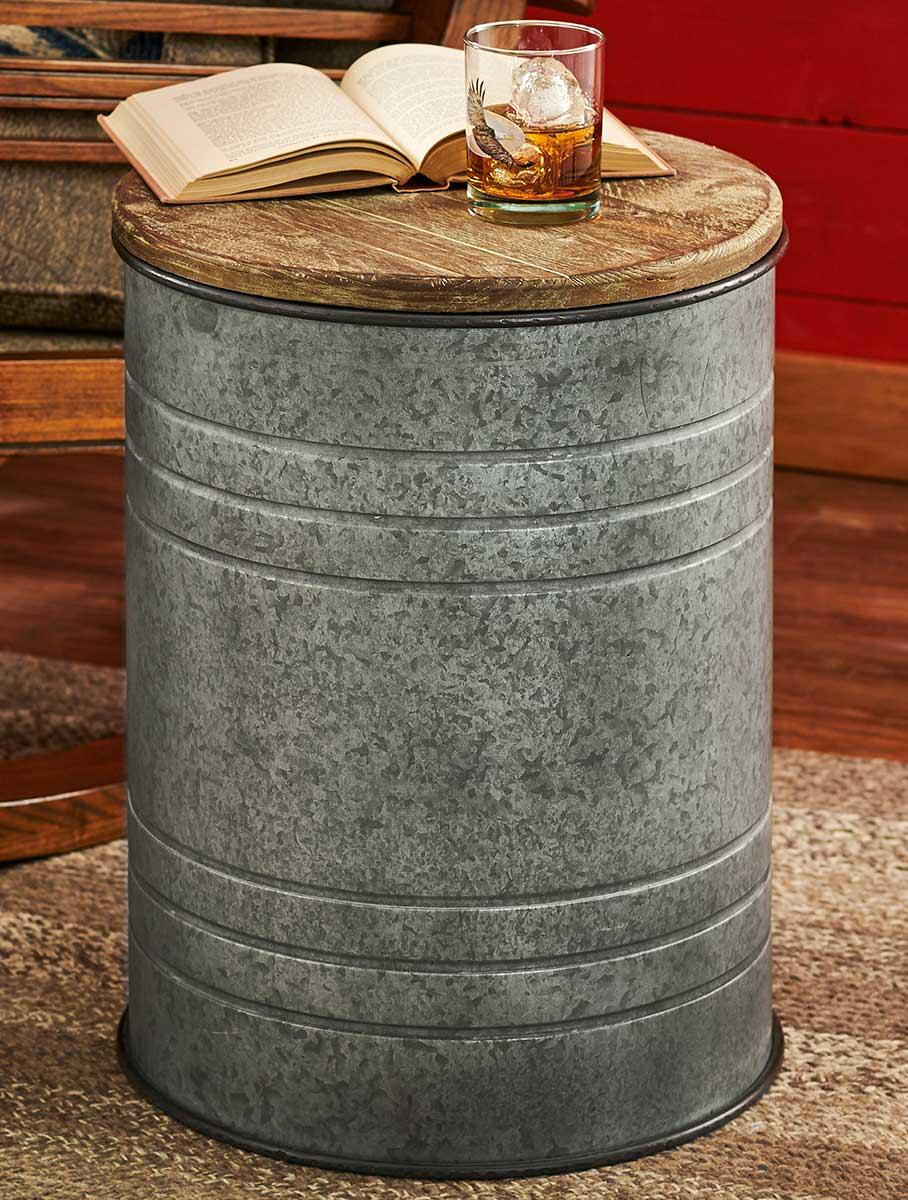metal drum side table wild wings cannes accent wood modern nightstand lamps outdoor iron reclaimed kitchen small teak wicker sofa garden cover coffee patio umbrella canopy blue