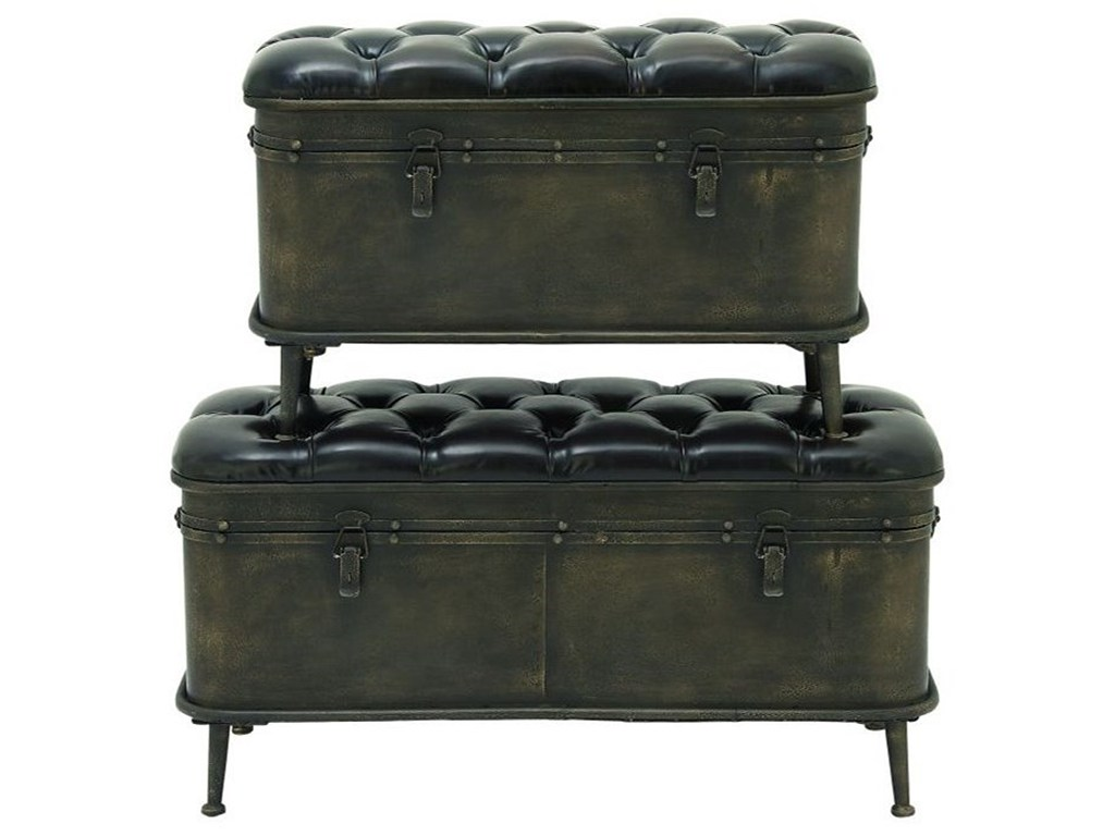 metal faux leather storage benches set accent furniture products uma enterprises inc color furnituremetal round breakfast table modern nesting side tables small kitchen counter