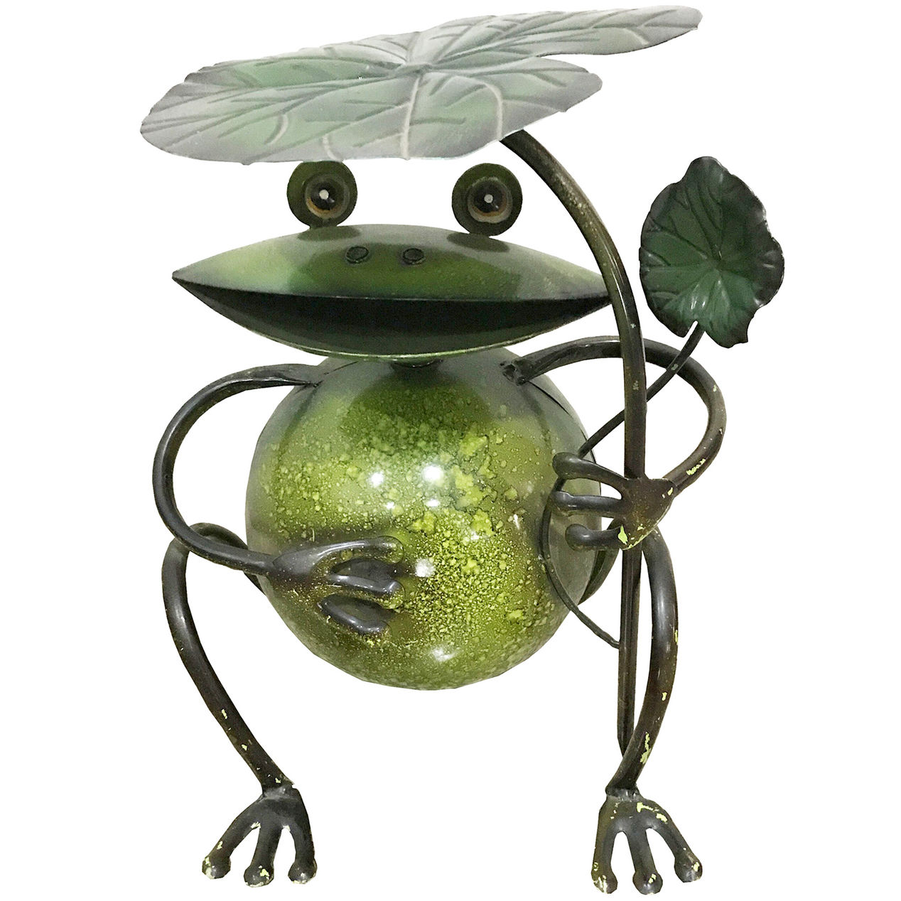 metal frog sitting with leaf home drum accent tables person bar height table best lamps hall chest large round mirror vintage mid century furniture designer placemats and napkins