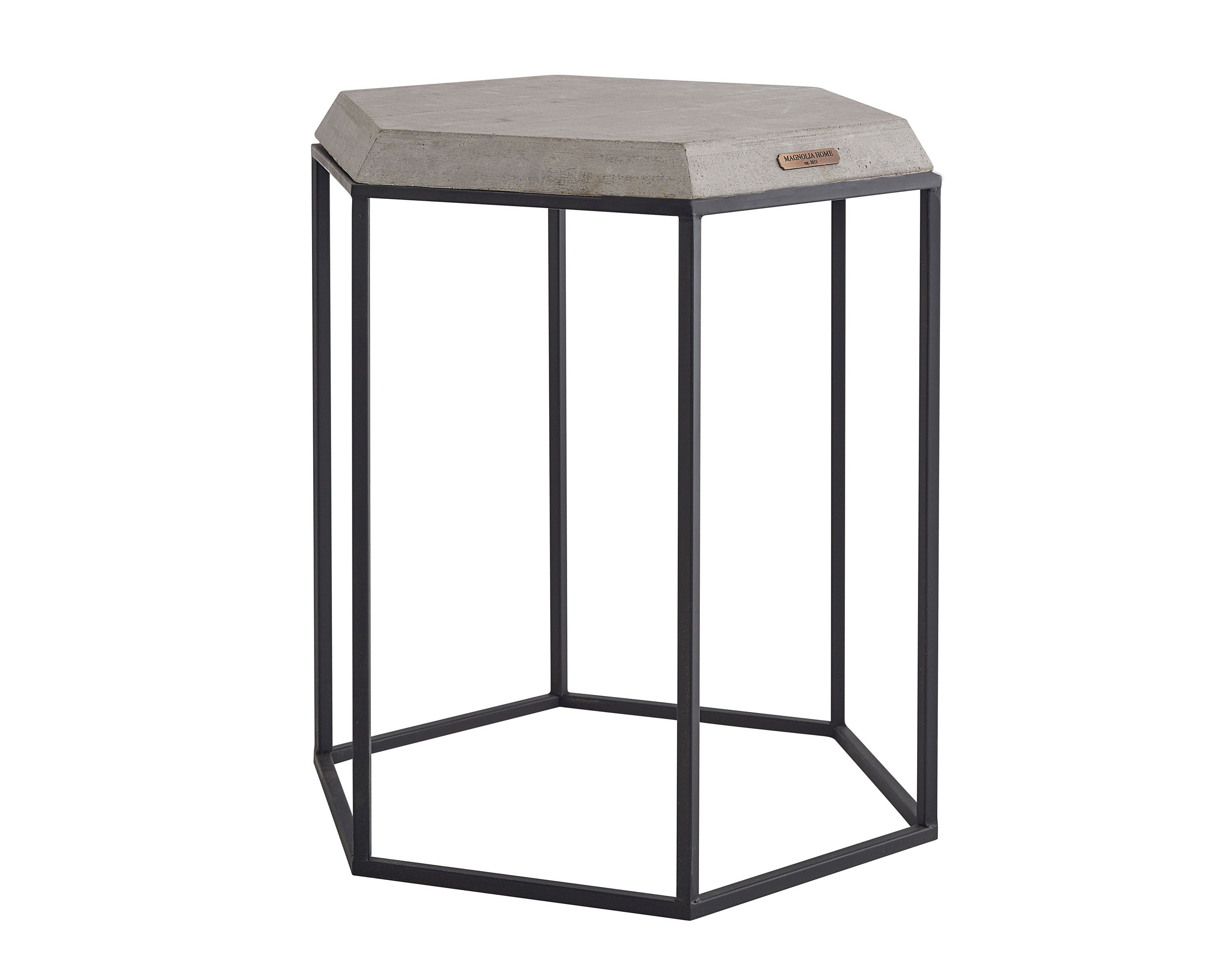 metal hexagon table with cement top magnolia home outdoor concrete accent the perfect blend and creates contemporary industrial side chic urban edge lounge room ikea storage bins