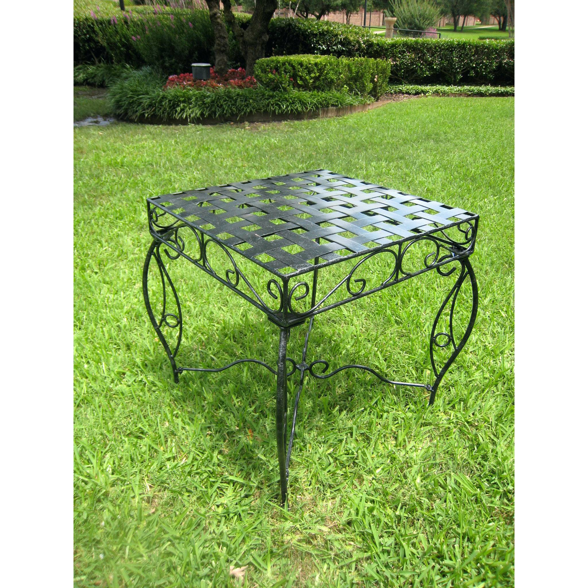 metal outdoor side table patio coffee round international caravan end new vintage furniture ikea pineapple light brass glass top screw desk legs macys tablecloth dining clearance