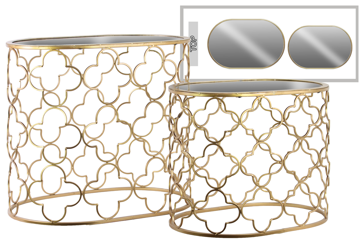 metal oval nesting accent table with mirror top and quatrefoil design body set two metallic finish gold ashley furniture company small battery lamp rustic blue end west elm