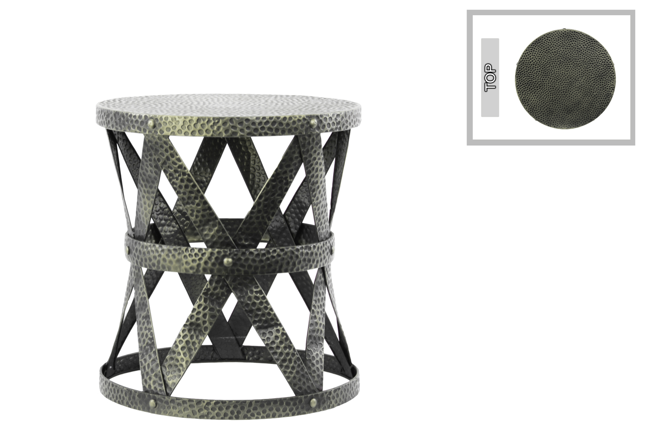 metal round accent table stool with industrial lattice girder design gray and base pottery barn kids trestle pine uttermost laton mirrored hampton bay patio set dining pedestal