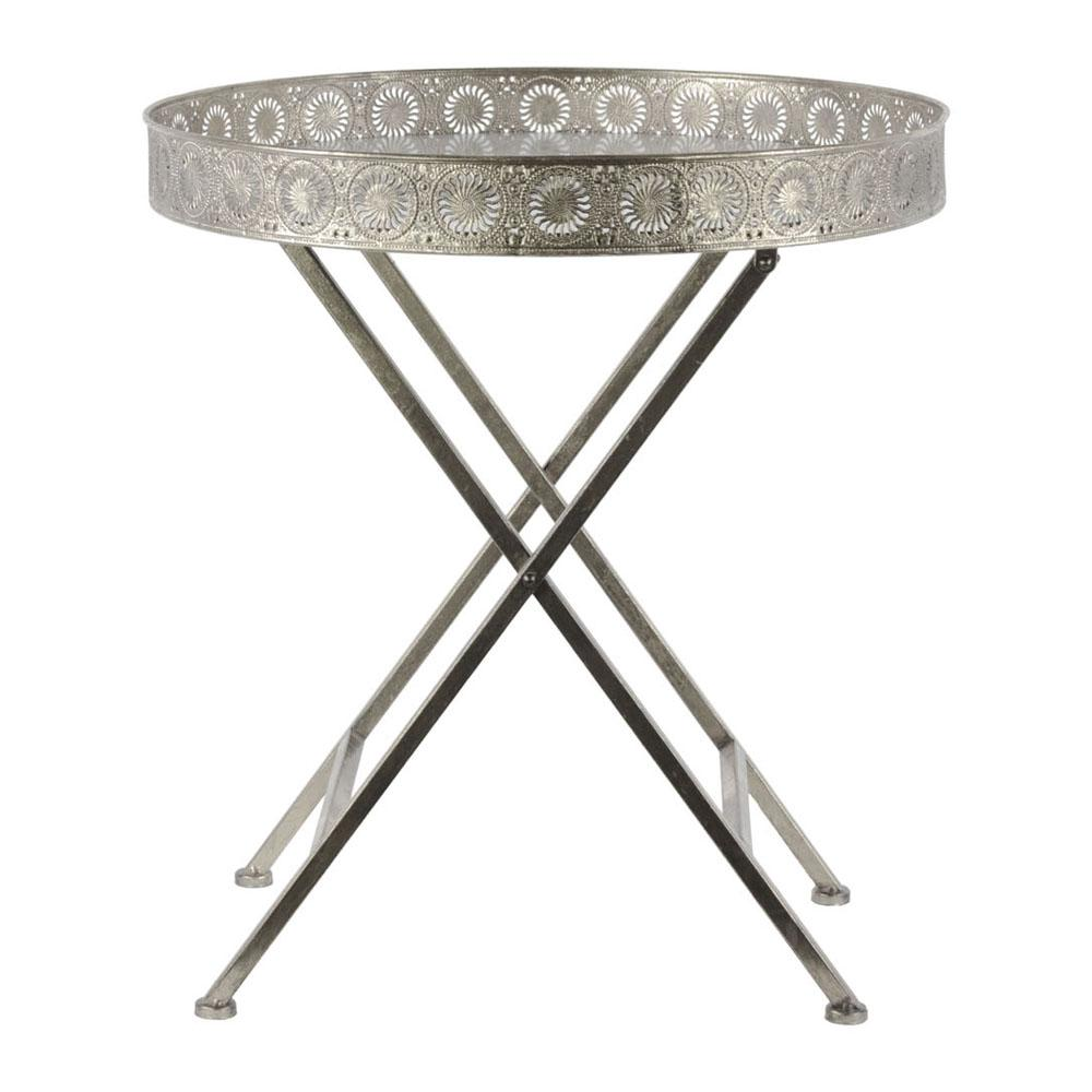 metal round accent table with frame and crossed legs total img urbantrend iron chest broyhill side usb modern dressing large coffee storage pottery barn bar nautical chandelier