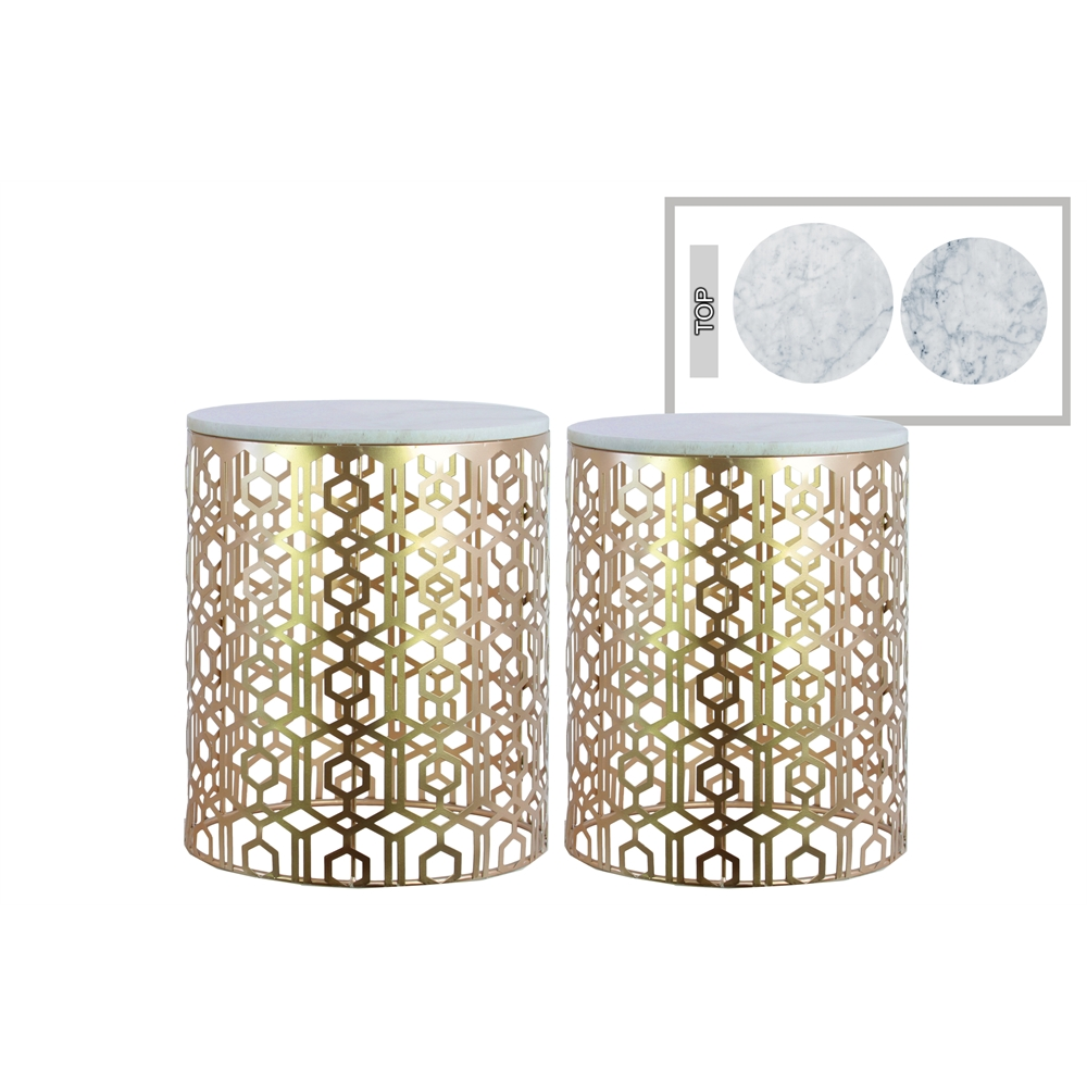 metal round nesting accent table with marble top and lattice design body set two metallic finish champagne tree stump end starfish lamp side light attached chest cupboard wall