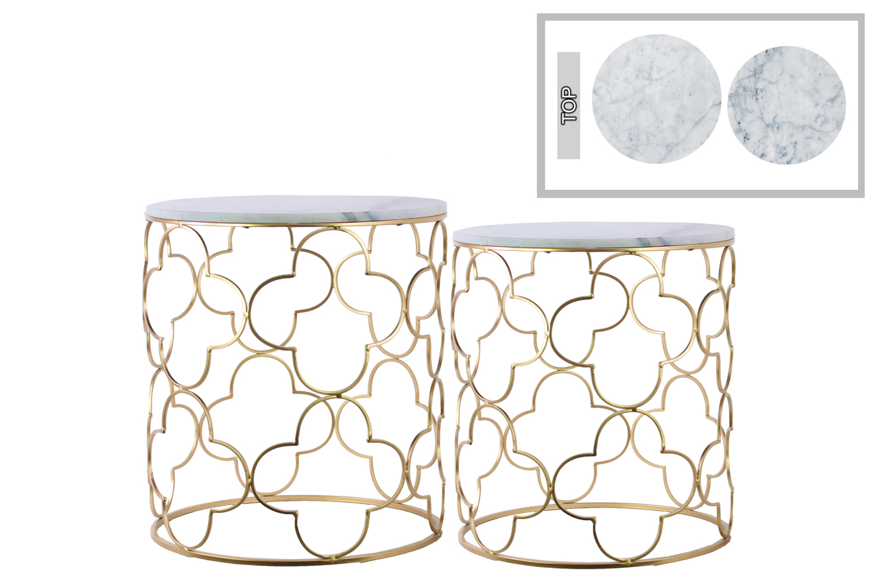 metal round nesting accent table with marble top and lattice quatrefoil wood design body set two metallic finish door saddle old oak side mirrored pedestal purple tablecloth