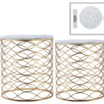 metal round nesting accent table with marble top and lattice wave design body set two metallic finish gold funky coffee tables black glass cantilever umbrella squares linens 150x150