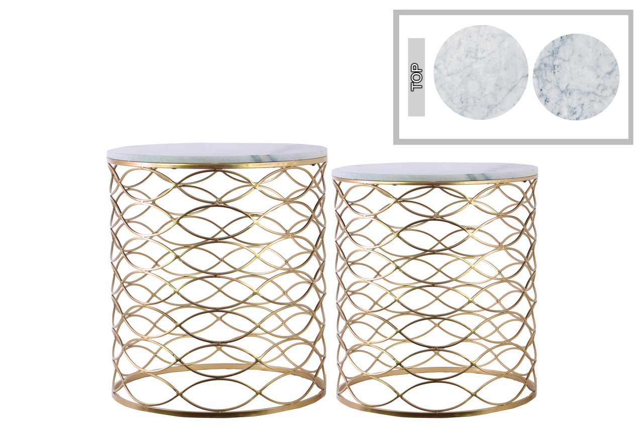 metal round nesting accent table with marble top and lattice wave design body set two metallic finish gold funky coffee tables black glass cantilever umbrella squares linens