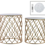 metal round nesting accent table with marble top and wave design body set two starfish lamp white counter height chest cupboard wall light shades all pine trestle cube end 150x150