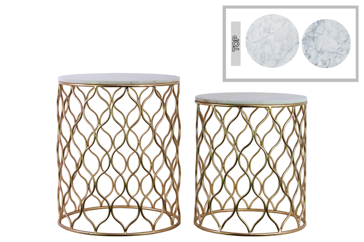 metal round nesting accent table with marble top and wave design body set two starfish lamp white counter height chest cupboard wall light shades all pine trestle cube end