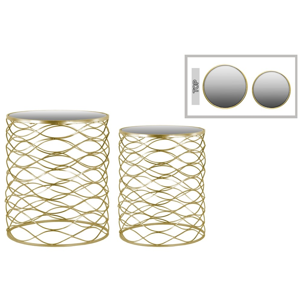 metal round nesting accent table with mirror top and base set two metallic finish gold corner cabinet ashley tables ships lantern lamp black pipe kitchen wine rack entryway bench