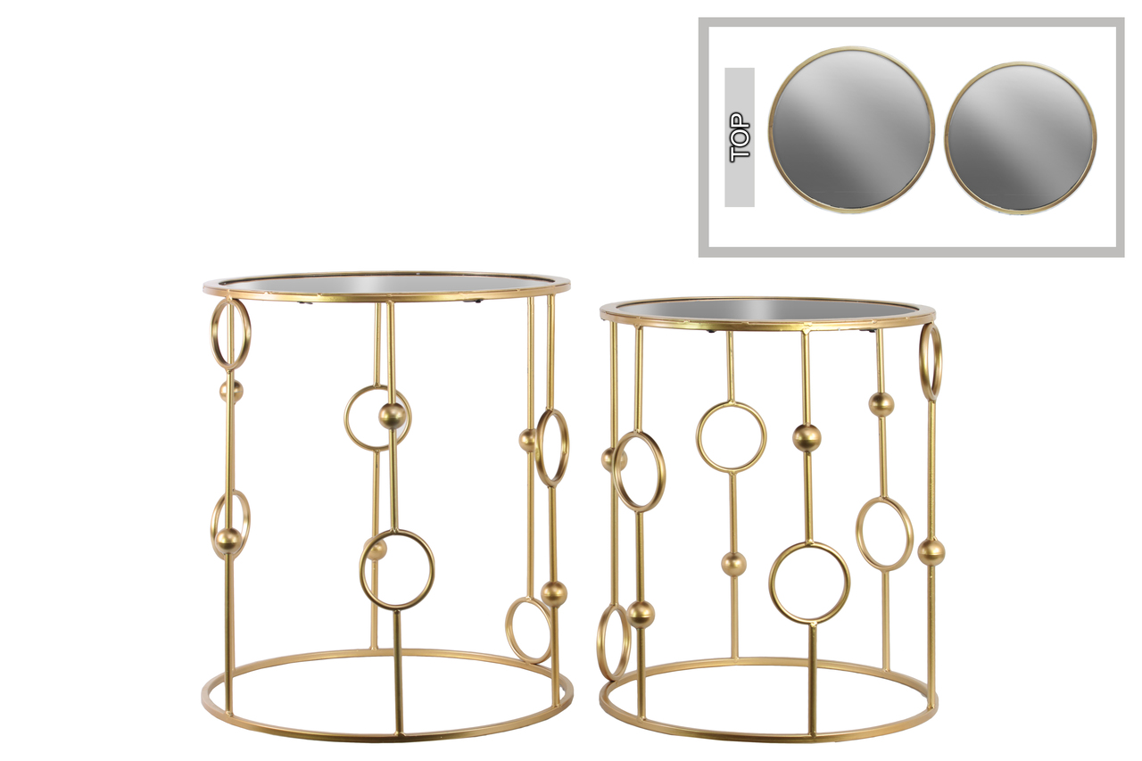 metal round nesting accent table with mirror top and circle gold beads design body set two metallic finish verizon lte tablet outside chair covers cardboard stone end tables