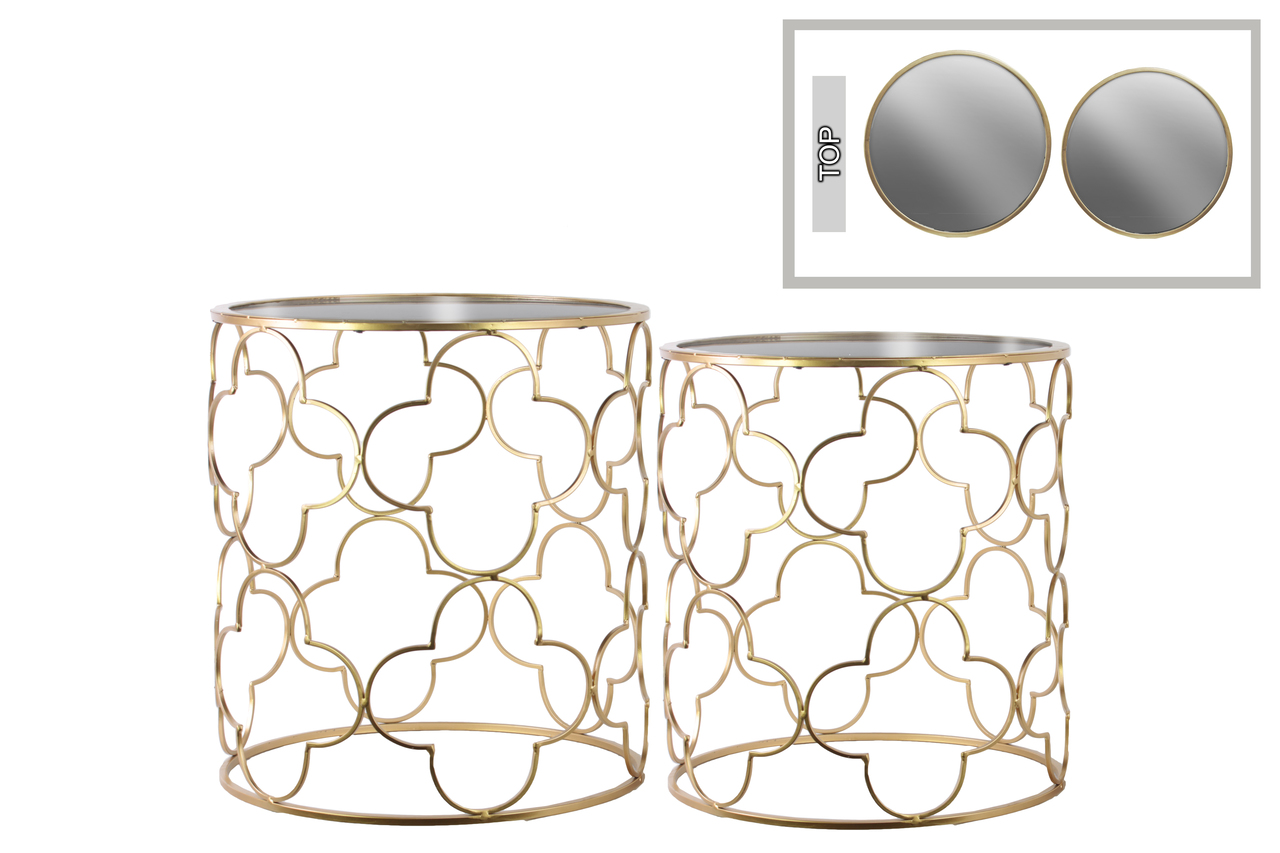 metal round nesting accent table with mirror top and lattice quatrefoil design body set two metallic finish door treads wooden wide side nate berkus wagon wheel furniture cover