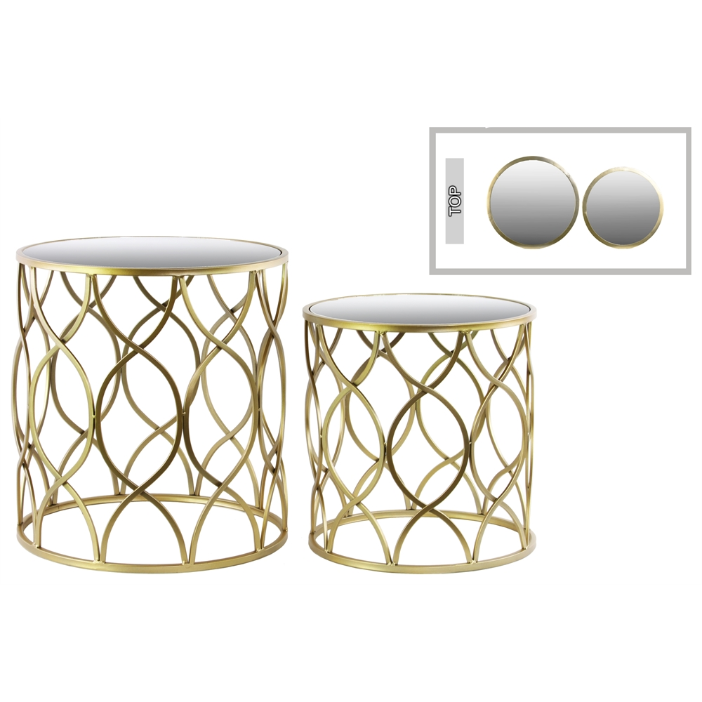 metal round nesting accent table with mirror top intersecting wave and set design base narrow wood console pottery barn drum side umbrella hole corner cabinet gold glass lamp