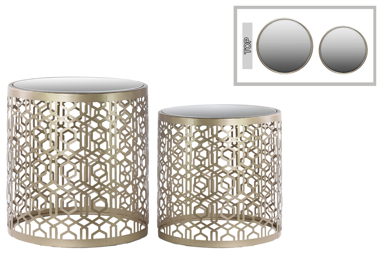 metal round nesting accent table with mirror top polygonal design and set base pottery barn frames ashley furniture beds gold glass lamp cloth napkins black marble dining mosaic