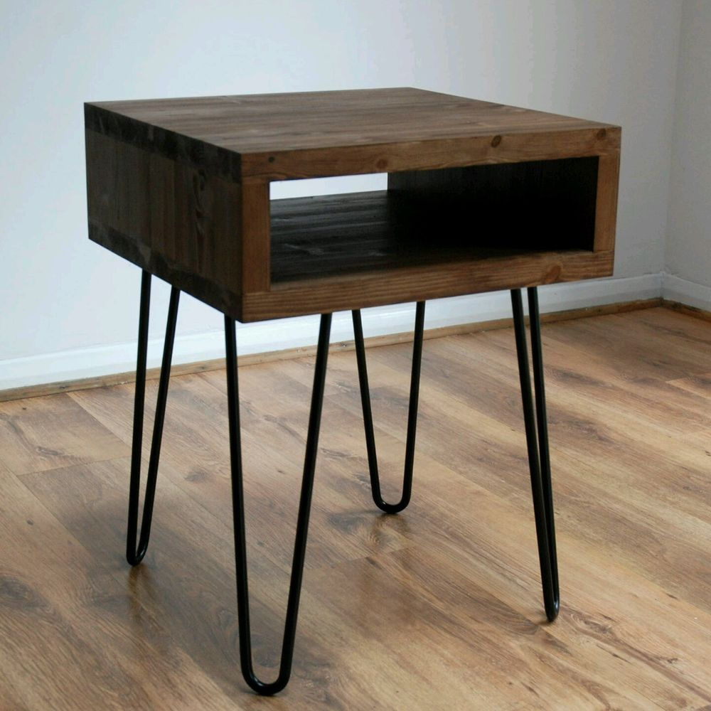 metal side table legs with black vintage retro industrial hairpin leg accent rustic looking end tables garden small chest cabinet pottery barn drum cherry wood dining furniture