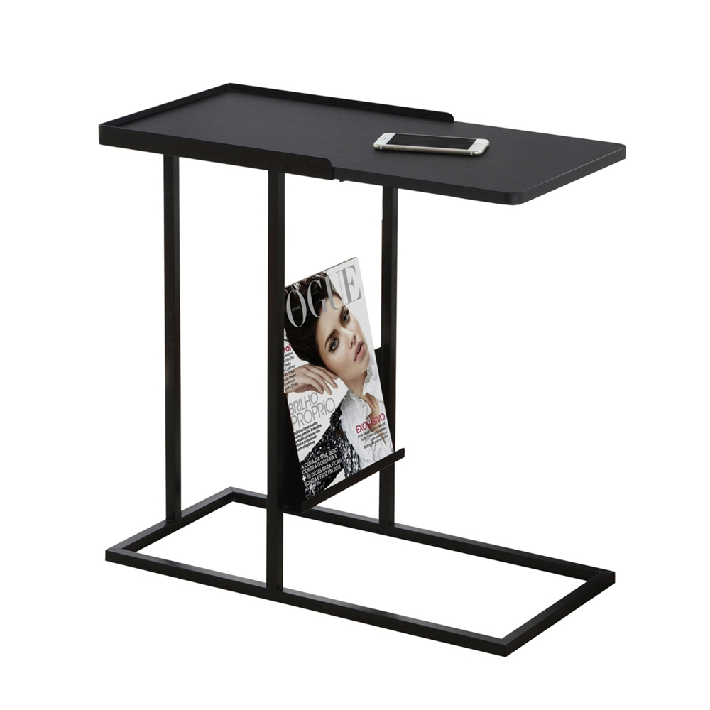 metal snack table magazine rack shelving accent with red lamp shade pottery barn chairs tall side drawers nic tablecloth glass top coffee storage ikea childrens boxes target white