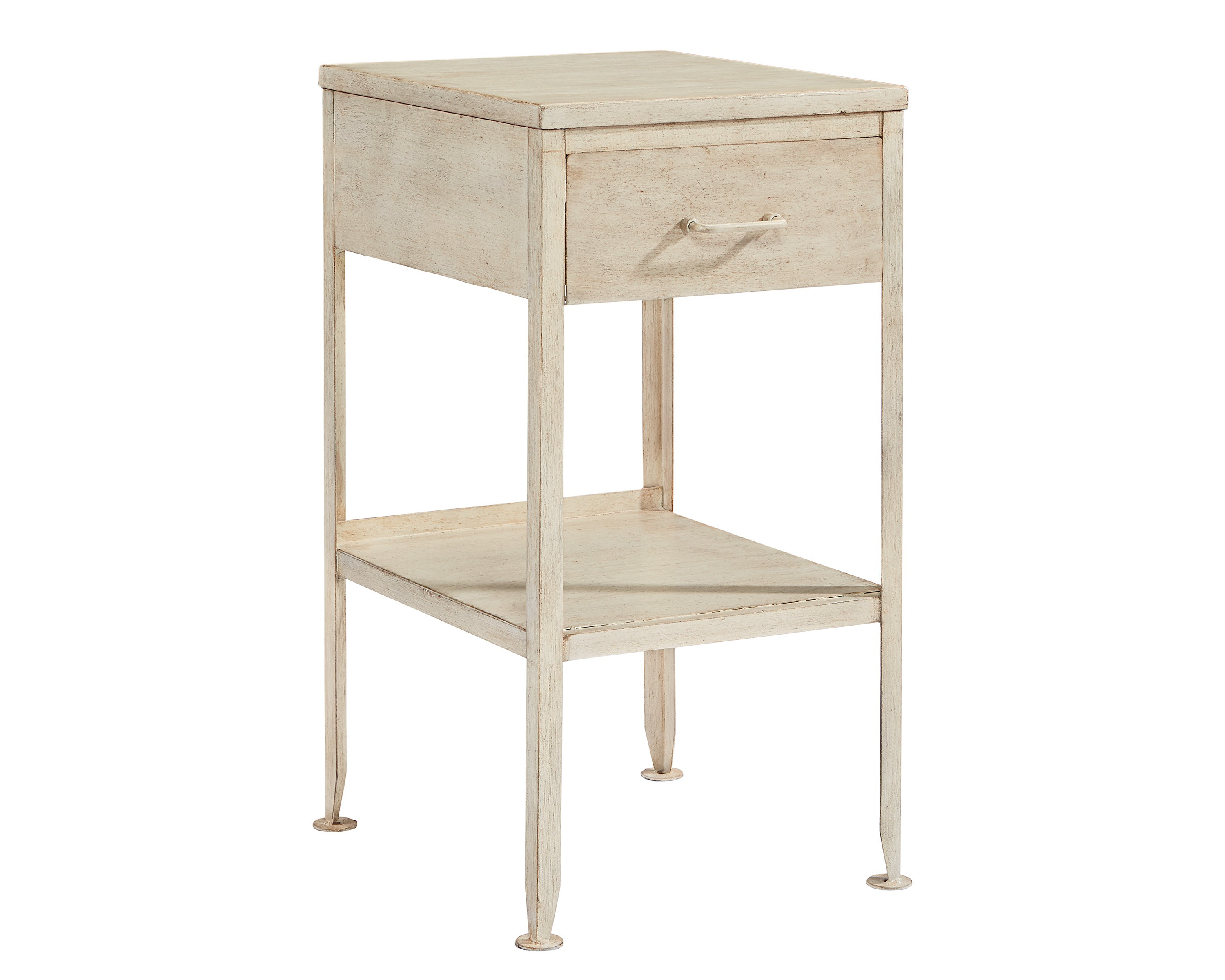 metal utility side table magnolia home silo antique white accent has lots purpose with its drawer and open cubby storage will great piece painted finish stainless steel kitchen
